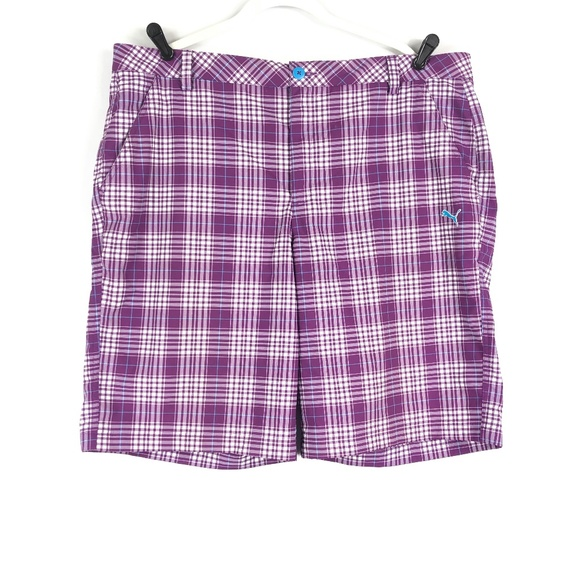 89eb2e1bb0b7 Puma Golf Tech Bermuda Shorts Purple Plaid. M 5c449ee1de6f62a322542a7b